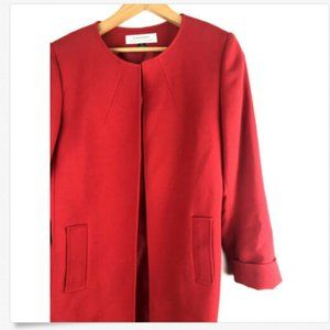 Tahari 6 Trench Coat Open Front Dress Jacket Red